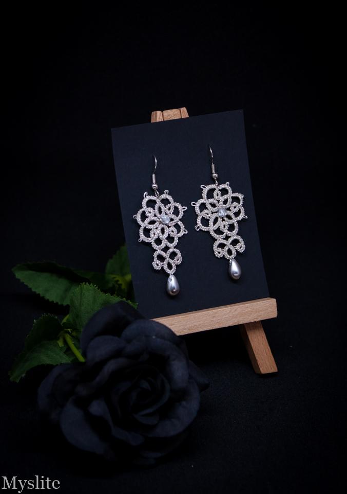 Boucles d'oreilles en dentelle florale argentée métallisé avec perles argentées, inspirées de l'esthétique rétro et Rockabilly
