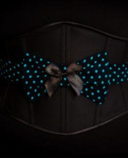 Serre-taille noir et bleu Myslite d'inspiration Rockabilly avec noeud décoratif en tissu.