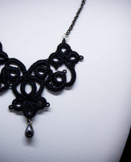 """Collier pendentif gothique Victorien en dentelle noire """"Juliette"""""""